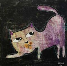 Anchana Chareapaporn Purple Cat, Thai Art, Cat 2, Buy Art Online, Art Store, Pet Portraits, Art For Sale, Disney Characters, Fictional Characters