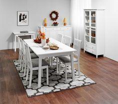 Sara-huonekaluissa on vanhan ajan henkeä tämän päivän maustein. Sarja sopii erilaisiin tiloihin konstailemattoman tyylinsä ansiosta. Siro, selkeä muotoilu takaa, että monikäyttöinen. Decor, Living Room, Furniture, Dining, Dining Table, Table, Home Decor