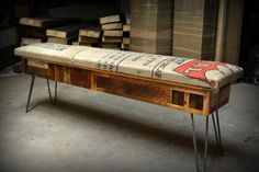 Recycled Coffee Sack Storage Benches. $315.00, via Etsy.