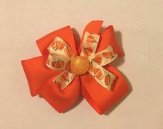 """Excited to share the latest addition to my #etsy shop: 4"""" Fall/Thanksgiving Hair Bow #accessories #hair #thanksgivingbow #fallbow #portababy"""
