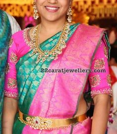 guttapusalu necklace with earrings and simple pachi work waist belt Half Saree Designs, New Blouse Designs, Gold Wedding Jewelry, Bridal Jewellery, Gold Jewelry, Vaddanam Designs, Kids Indian Wear, Waist Jewelry, Party Sarees
