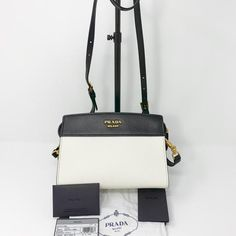 1518d9b1c722 Prada Bandoliera Saffiano Black   White Leather Cross Body Bag - Tradesy  Leather Crossbody Bag