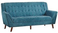 Homelegance Erath Danish Modern Mid Century Sofa with Tufted Accent Blue -- Click image for more details. (This is an affiliate link) White Furniture, Cheap Furniture, Discount Furniture, Furniture Plans, Deck Furniture, Double Recliner Loveseat, Sectional Sleeper Sofa, Game Room Furniture, Top Furniture Stores