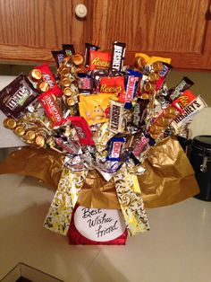 Candy bar bouquet I made for going away gift for friends