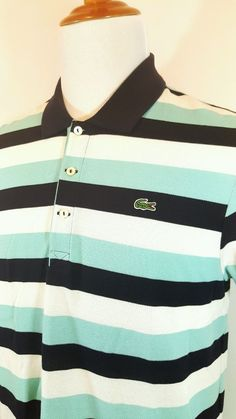 NEW Lacoste Polo Shirt Mens Striped Blue Short Sleeve Size 6 Slim Fit MSRP $99 #Lacoste #PoloRugby