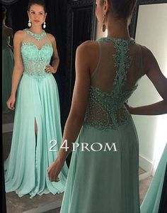 Modest prom dress long, unique chiffon sequin green long prom dress for teen, formal party dress 2016 #prom #promdress