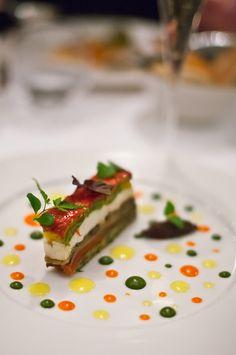 plating inspiration: mozzarella, tomato & zucchinni terrine