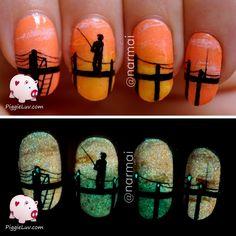 PiggieLuv: Fisherman's sunrise nail art (glow in the dark)