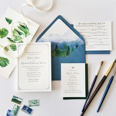 Rebecca & Mike got married outdoors in the mountains of North Carolina. We kept the cards simple with gray letterpress, and added a touch of fun with a mad libs reply card and tiny pig illustration for a barbecue welcome party. Their ceremony had a beautiful mountain view which I painted for envelope liners. Not pictured: white envelope addressing. Loved working on this one!