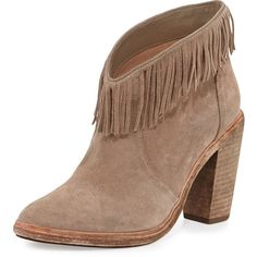 Joie Loren Fringe Suede Bootie ($305) ❤ liked on Polyvore featuring shoes, boots, ankle booties, ankle boots, fringe booties, fringe cowboy boots, tan ankle boots and tan booties
