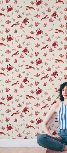 Baha this crab, lobster and coral graphic wallpaper is ridiculously cute!