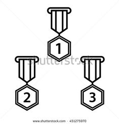 Sets of Medal icon award First, second and third winner, line art flat design. Vector illustration. - stock vector