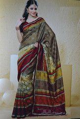 #Golden and #maroon #Colour #Jacquard #bhagalpuri  material #saree #sari