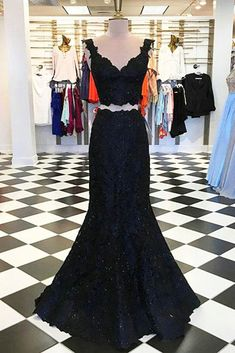 Black lace two piece V neck long mermaid evening dress, black senior prom dress #prom #dress #promdress #promdresses