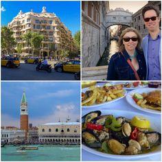 Clockwise from top left: Alex Sturman enjoyed Barcelona, Venice, Katakolon and it's cuisine.