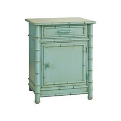 Redford House Faux Bamboo Nightstand in Robin's Egg Blue ($979) ❤ liked on Polyvore featuring home, furniture, storage & shelves, nightstands, faux bamboo furniture, colored furniture, 1 drawer nightstand, handmade furniture and one drawer nightstand