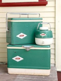 Vintage Coleman Coolers: Camping on every single school vacation... Even camped as an infant- mom would prepare bottles over campfire...