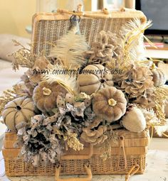 One More Time Events...: Burlap Hydrangea Fall Center Piece and Exciting News