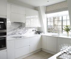 Intergrated kitchen with marble back splash