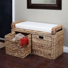 The Banana Leaf Storage Bench will bring extra seating, valuable storage, and an element of exotic charm to your living space. Paper Furniture, Wicker Furniture, Bench With Storage, Storage Baskets, Storage Benches, Diy Storage, Wood Transfer, Bamboo Crafts, Paper Basket