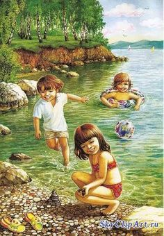 """Photo from album """"Лето"""" on Yandex. Propaganda E Marketing, Illustration Mignonne, Picture Composition, Creation Photo, Country Scenes, Am Meer, Painting Inspiration, Art Pictures, Kids Playing"""