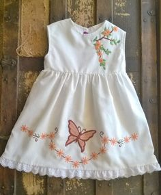 Vintage Embroidered Toddler Dress Autumn by AnnaHeirloomBoutique