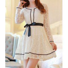 Sweet Style Scoop Collar Openwork Lace Bowknot Belt Design Slimming Long Sleeves Blended Women's Dress