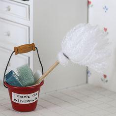 Dollhouse Miniature Mop Bucket