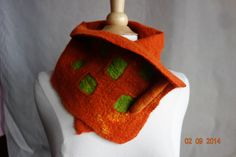 scarf felted neck wrap neck warmer felt cowl orange wool scarfet with green squares by hipposinhats on Etsy https://www.etsy.com/listing/203369769/scarf-felted-neck-wrap-neck-warmer-felt