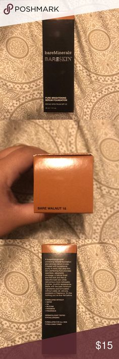 bareMinerals Pure Brightening Serum Foundation Brand new bareMinerals Foundation with SPF 20 in the shade 18 Bare Walnut bareMinerals Makeup Foundation