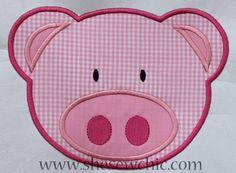 Pig Applique Machine Embroidery Design. $4.00, via Etsy.