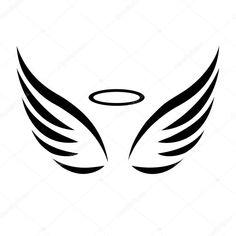 Vector sketch of angel wings Mini Tattoos, Cute Tattoos, Small Tattoos, Stencils Tatuagem, Tattoo Stencils, Tribal Tattoos, Tattoos Skull, Tatoo Heart, Alas Tattoo