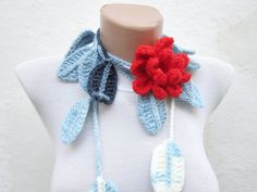 Removeable Brooch Pin Hand crochet Lariat Scarf  Blue by nurlu