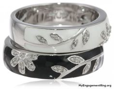 sterling silver black white enamel floral diamond engagement rings - My Engagement Ring