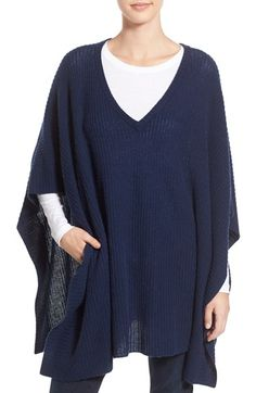 Free shipping and returns on Halogen® Cashmere Poncho at Nordstrom.com. Ribbed trim frames a beautifully draped V-neck poncho knit from lush, pure cashmere.