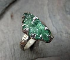 Raw  Apatite Ring Sea Green recycled Sterling Silver by byAngeline, $195.00