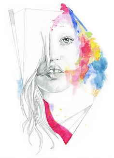 pencil + color, this illustration is beautiful for her flaws are drawn with such a loving line