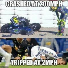 """football is a """" mans sport"""". But football is a """" mans sport"""".But football is a """" mans sport"""". Funny Motorcycle Memes, Motocross Funny, Bike Humor, Funny Car Memes, Funny Animal Jokes, Crazy Funny Memes, Funny Puns, Really Funny Memes, Stupid Funny Memes"""
