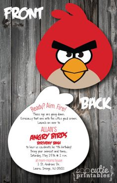 DIY Angry Birds Invitations by ZooCutiePrintables on Etsy, $12.00