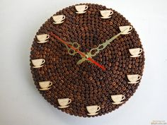 Coffee Bean Art, Coffee Zone, Wall Clock Design, Vintage Cafe, Creative Embroidery, Frame Crafts, Mosaic Art, Resin Art, Coffee Shop