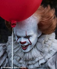 Transformation: The film sees Bill don the creepy face-paint and red wig to transform into the terrifying clown Pennywise who preys upon childrens' worst fears