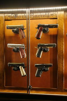 Molding Detail Custom Amish Pistol Display Cabinet