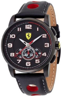 nice Ferrari 0830059 scuderia heritage chronograph black dial black leather men watch NEW