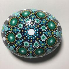 Hand Painted Mandala Stone, Mandala Meditation Stone, Dot Art Stone, Healing Stone, #406 by MafaStones on Etsy
