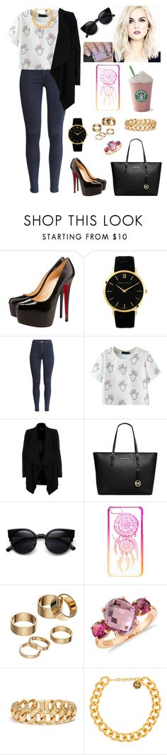 """""""Untitled #628"""" by myriam-sanchez ❤ liked on Polyvore featuring Christian Louboutin, Larsson & Jennings, H&M, River Island, MICHAEL Michael Kors, claire's, Apt. 9, Blue Nile and Alexander McQueen"""