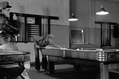 Freud & Jung taking a break from their lecture tour to enjoy an American billiards hall, 1908.