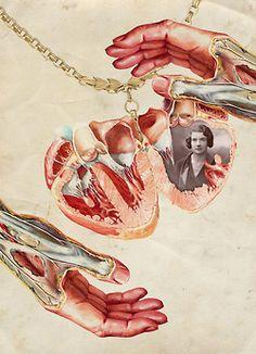 vintage hands heart Anatomy collage collage art digital collage locket in my heart ffo ffoart
