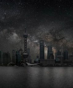 """Shanghai by Thierry Cohen - """"Villes Enteintes"""" (Darkened Cities); a photographic series depicting major cities as they would appear at night without light pollution, or how they would look if we could see the stars Thierry Cohen, Clear Night Sky, Dark Night, Technique Photo, Night On Earth, Tokyo, Astronomy Pictures, Concours Photo, Dark City"""