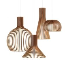 Secto Wooden Pendant Light Secto Design pendants now available in walnut. Supplier in Australia is F Light Fittings, Light Fixtures, Rattan Lampe, Deco Luminaire, Wood Pendant Light, Pendant Lamps, Pendant Lighting Over Dining Table, Wooden Lamp, Interior Lighting