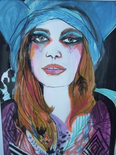 Etsy Transaction - Fashion Painting/Psychedelic Portrait of Girl/Crazy makeup-by Kime Buzzelli on imgfave